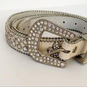 Rhinestone Studded Leather White Belt Silver Tone
